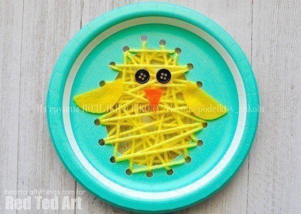 Цыплёнок: переплетение из пряжи