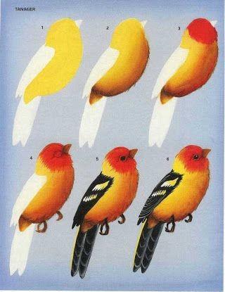 Рисуем с детьми птичек