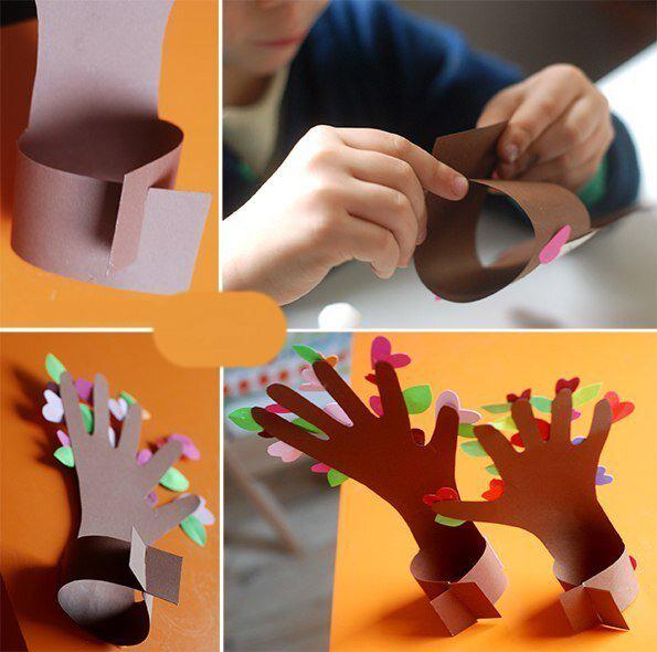 Творческое задание для малышей: дерево из ладошек