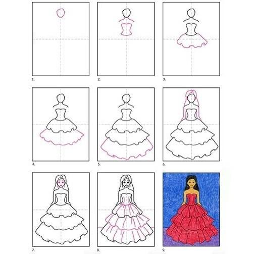 Рисуем девочку в платье принцессы