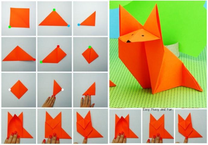 Лиса в технике оригами