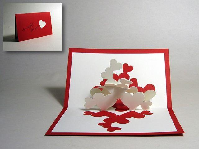 Объемная открытка с сердечками