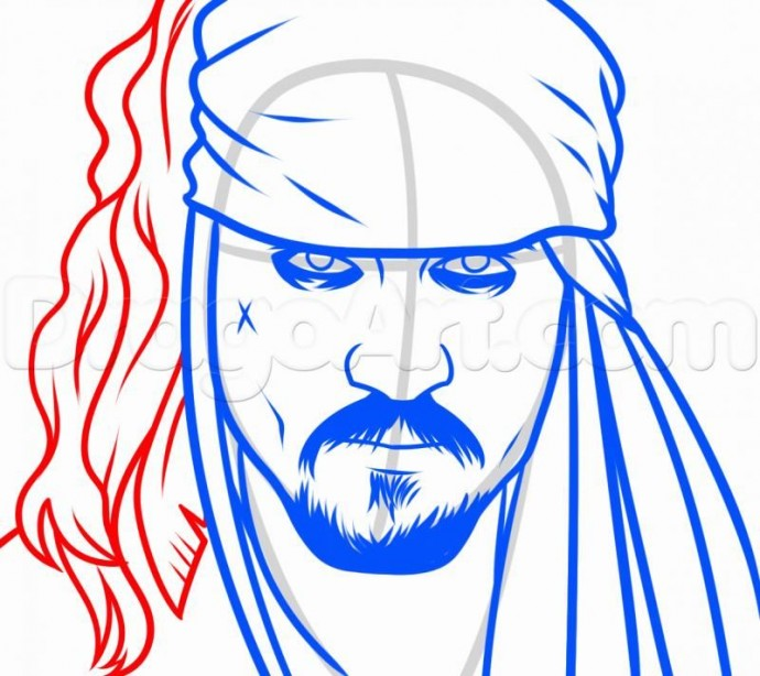 Урок рисования: пират Джек Воробей 5