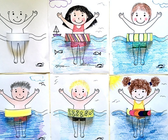"""Летняя аппликация-рисунок """"Я с плавательным кругом"""""""