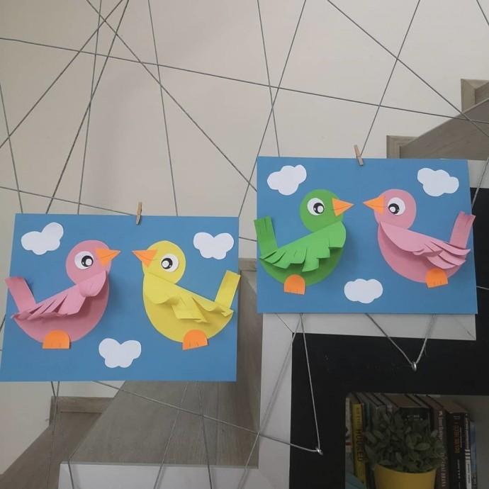 Птички с объёмными крылышками