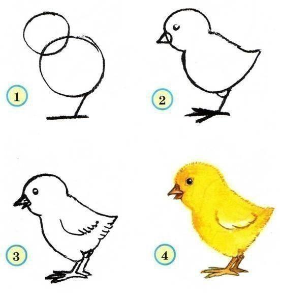 Рисуем птичек с малышами