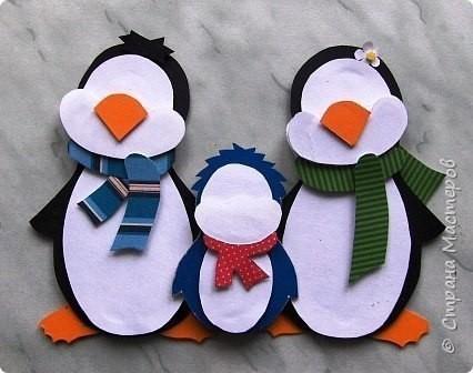 """Двухсторонняя аппликация """"Пингвины"""""""