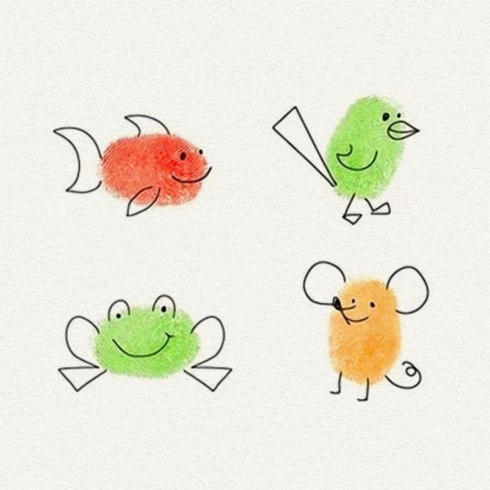 Детские рисунки пальчиками