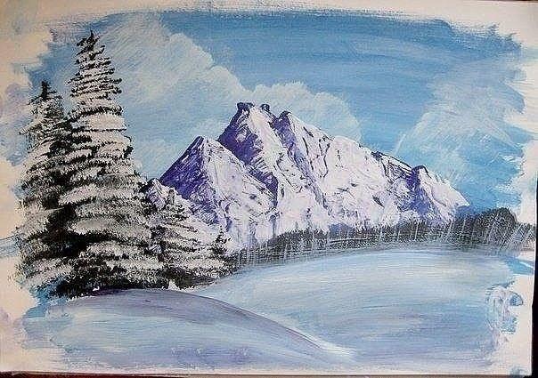 Зимний пейзаж гуашью 5