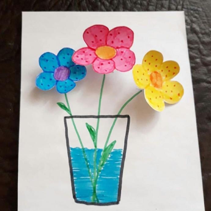 "Объёмная аппликация ""Цветы в вазе"""