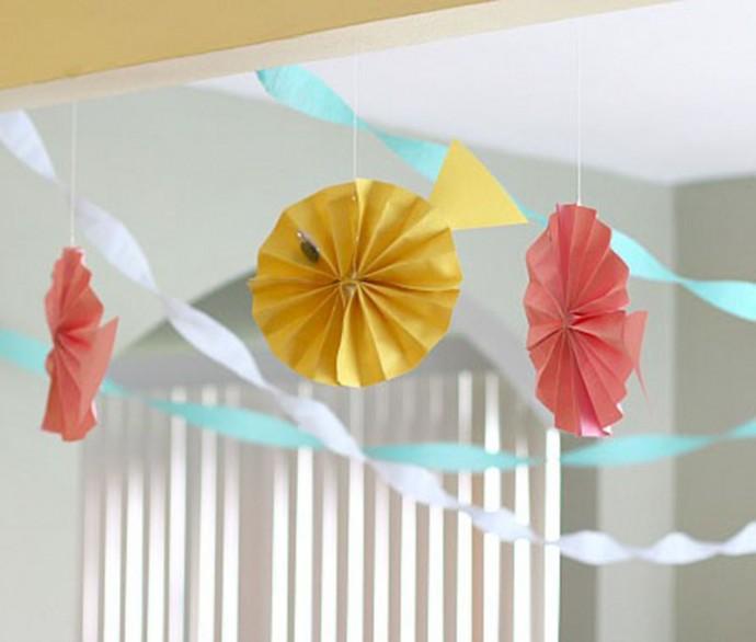 Рыбки из гофрированной бумаги