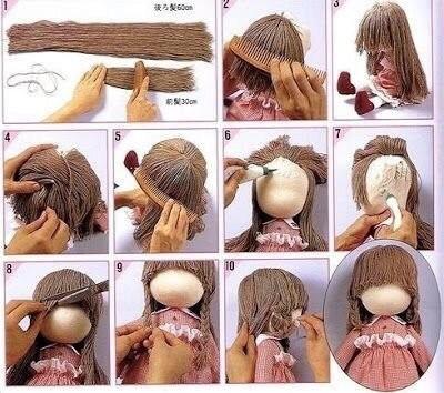 Волосы из пряжи для кукол 3