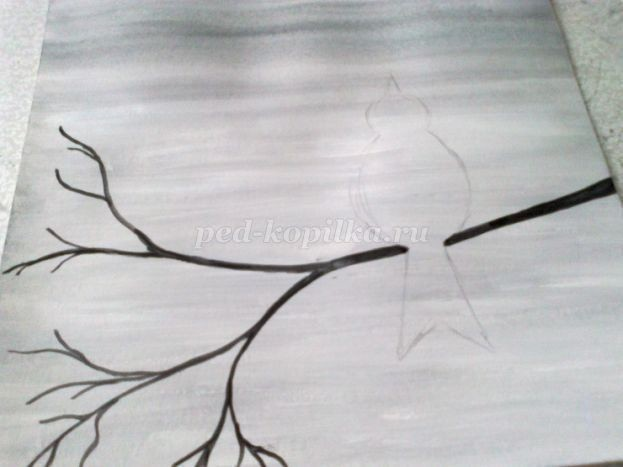 Рисуем птичку на веточке