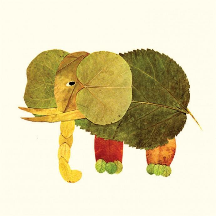 Разные животные из разноцветных листьев