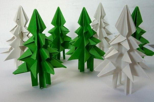 Бумажная елочка-оригами 0