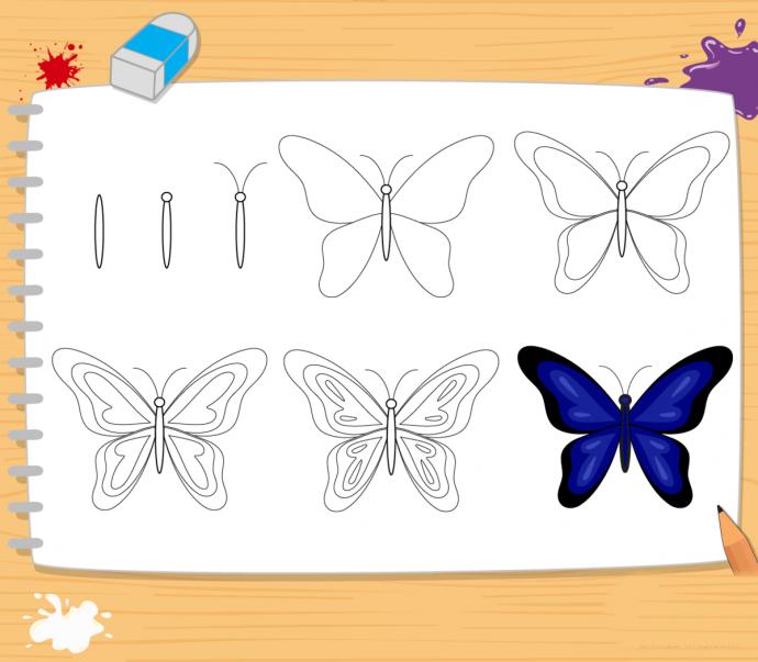 Рисуем с детьми бабочек