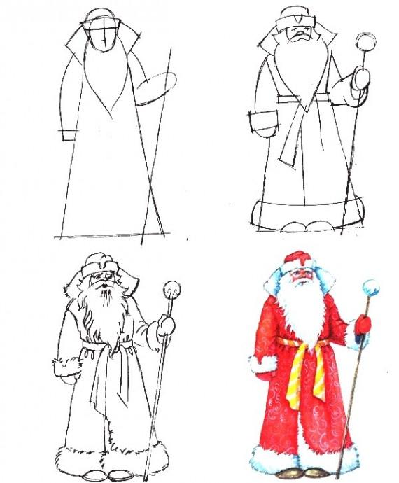 Рисуем с детьми Деда Мороза и Снегурочку
