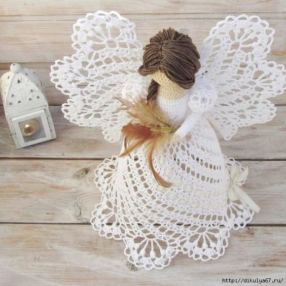 Рождественские ангелочки, которые связаны крючком 1