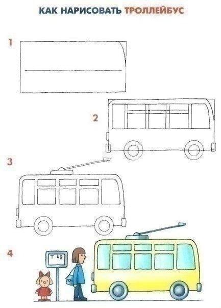 Рисуем с детьми средства передвижения