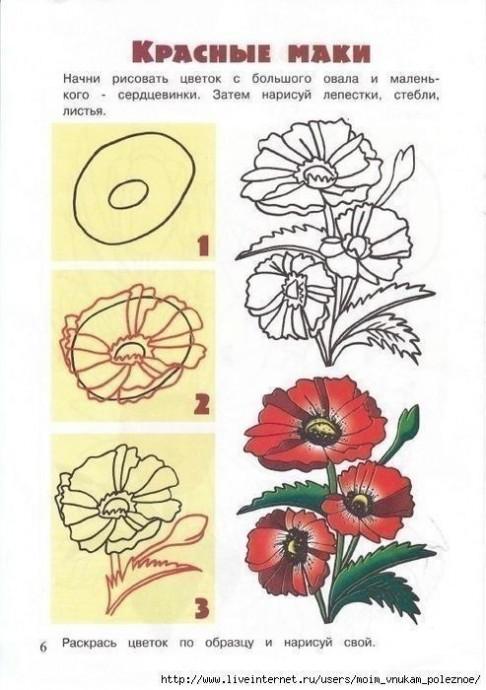 Учим детей рисовать цветы