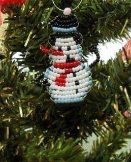 Ёлочка, снеговик и Дед Мороз из бисера 1
