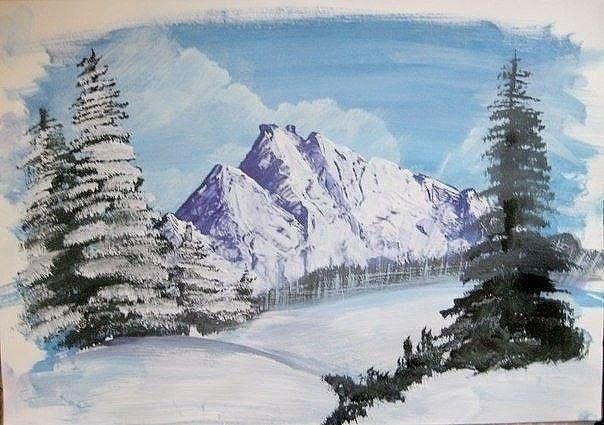 Зимний пейзаж гуашью 0