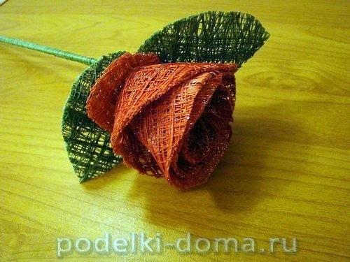 Букет роз из швейных ниток 8