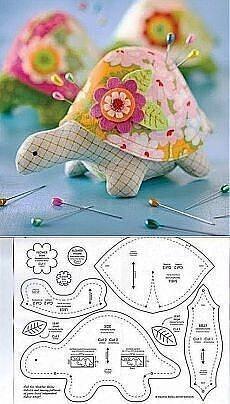 Выкройки игольниц: слоник и черепашка