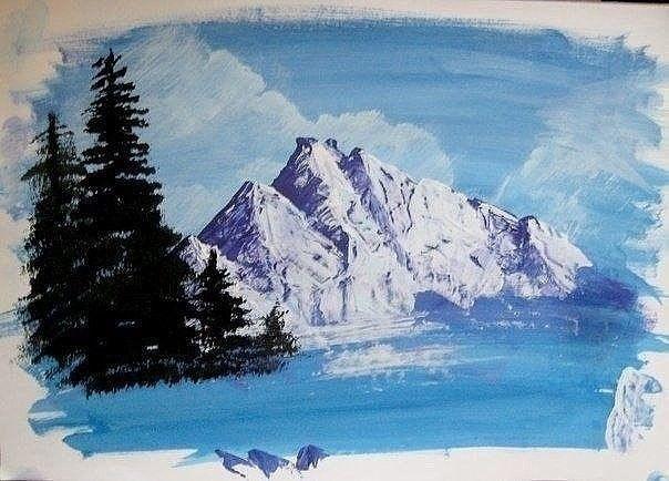 Зимний пейзаж гуашью 4