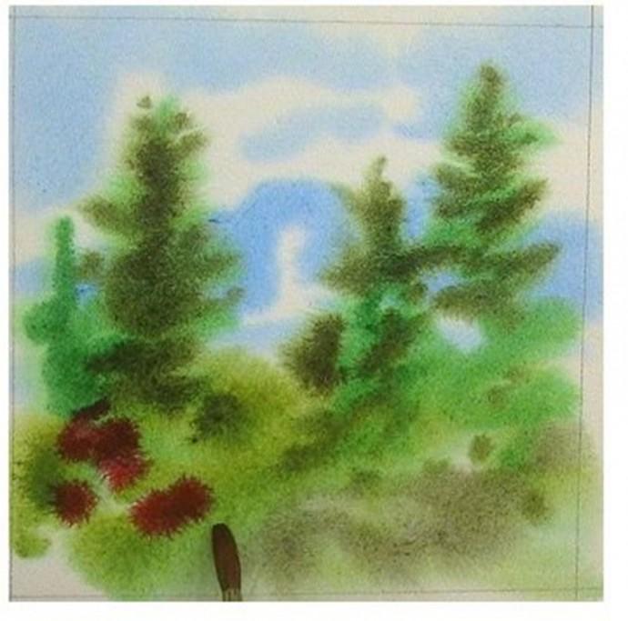 Рисуем с детьми ёлки акварелью