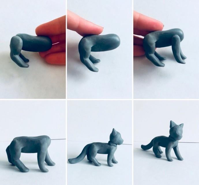 Лепим котика с мячом из пластилина