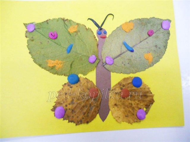 Аппликация из осенних листьев: бабочка
