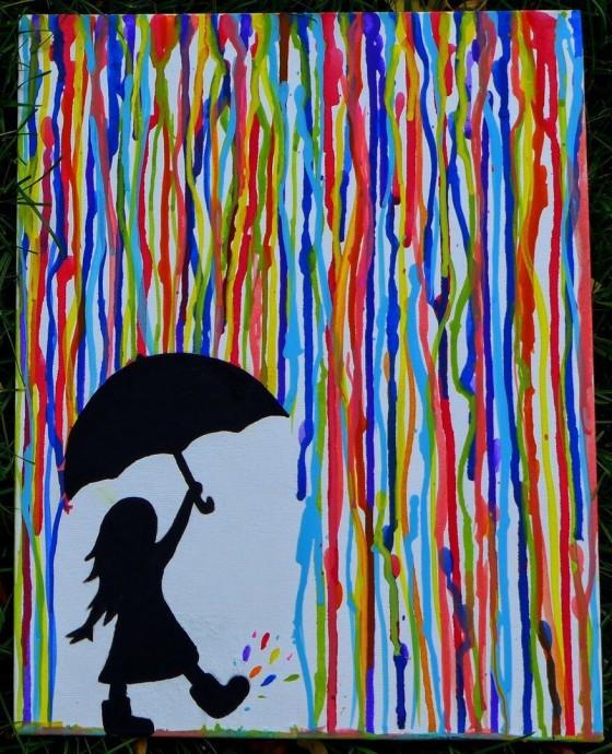 Нетрадиционные техники рисования: девочка с зонтом под разноцветным дождем