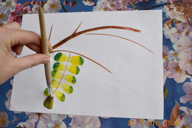 Рисуем ветку рябины