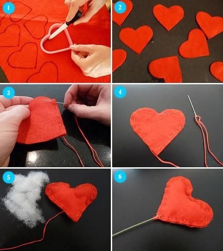 Букетик из фетровых сердечек