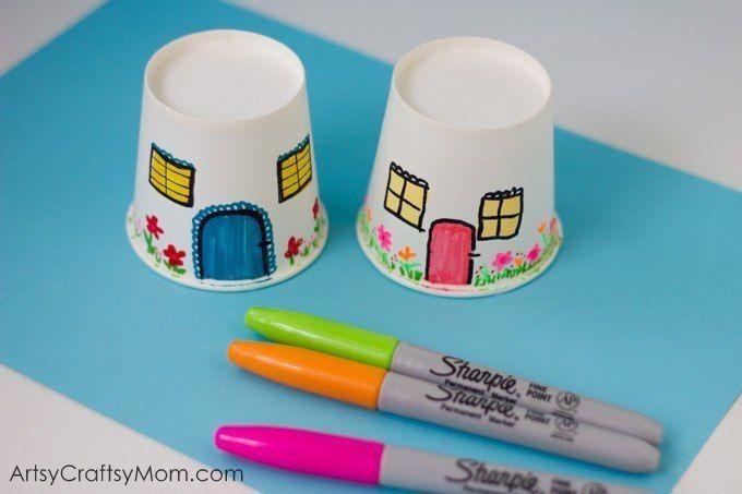 Домики из одноразовых бумажных стаканчиков 3