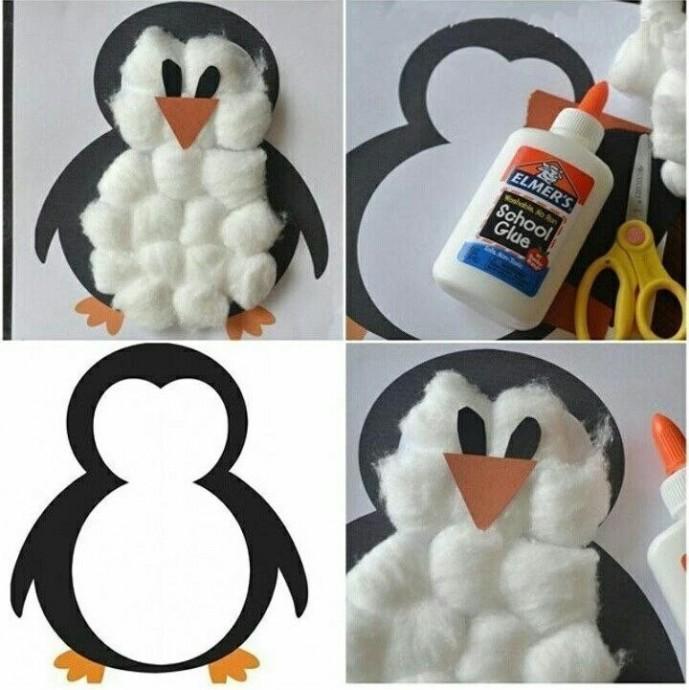 Пингвиненок из ваты и цветной бумаги