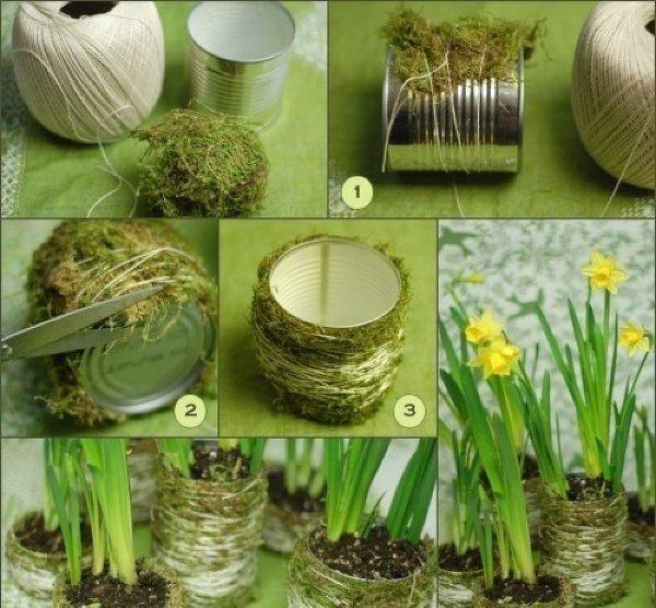 Горшочек для цветов из консервной банки