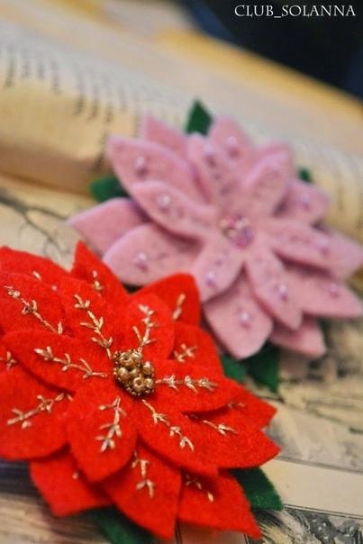 Рождественская пуансетия из фетра 1