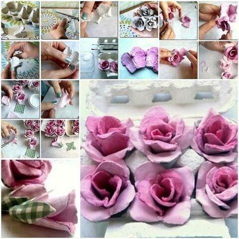 Разные варианты цветов из картонных лотков
