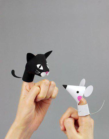 Забавные животные: пальчиковые куклы из бумаги