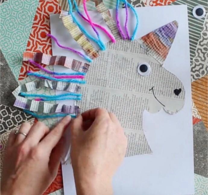 Поделки с детьми: единорог из газеты и пряжи