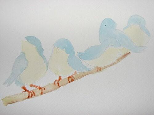 Птички акварелью