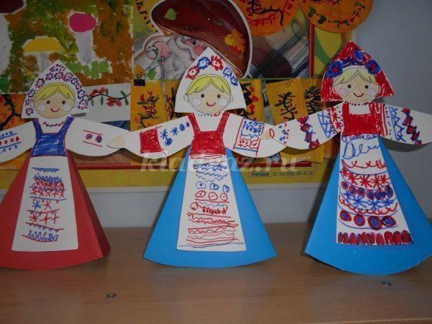 Куклы из бумаги в русском стиле