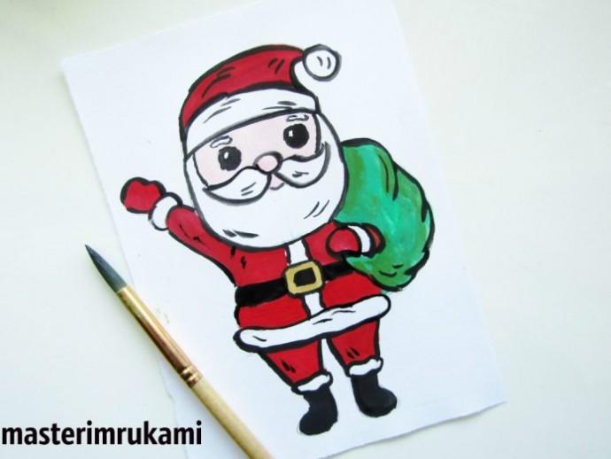 Рисуем Деда Мороза с мешком