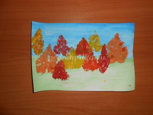 Осенний пейзаж в нетрадиционной технике рисования