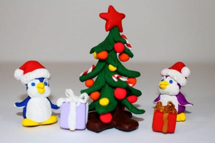 Чудесные новогодние поделки из пластилина 0