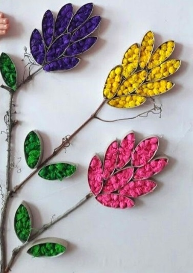 Поделка цветущая ветка из салфеток