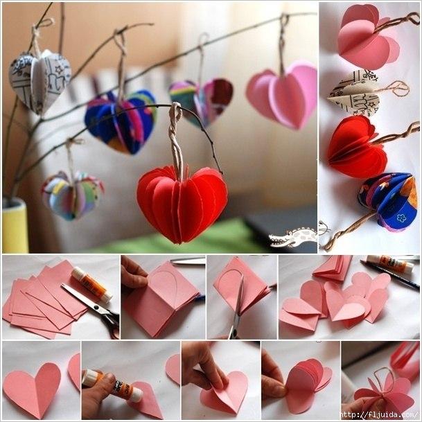 Подвески из цветной бумаги, сделанные из склеенных сердечек