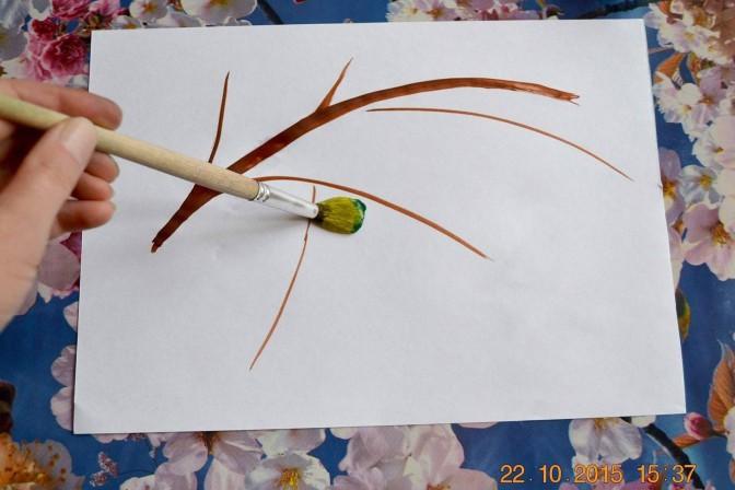 Рисуем с детьми ветку рябины